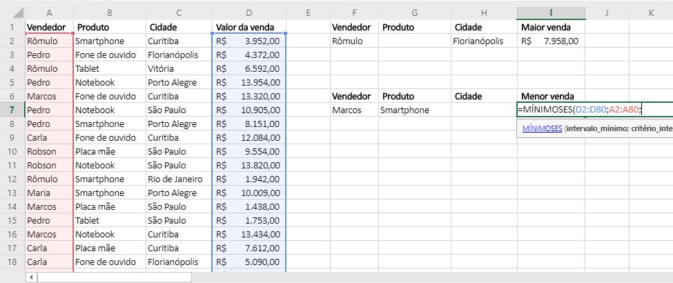 Segundo agumento de Funções MÁXIMOSES e MÍNIMOSES no Excel mínimo