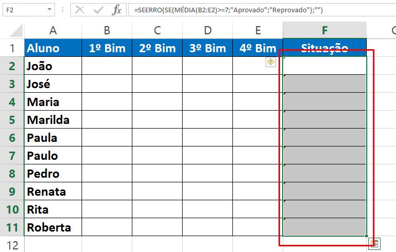 Selecioando intervalo para Esconder a fórmula no Excel