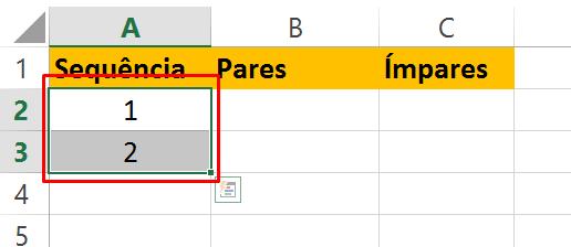 Selecionado número para sequência numérica no Excel