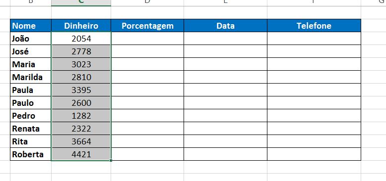 Selecionando o intervalo contábil para Formatar Célula no Excel