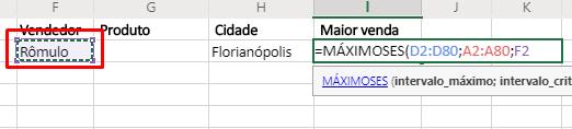 Terceiro agumento de Funções MÁXIMOSES e MÍNIMOSES no Excel máximo