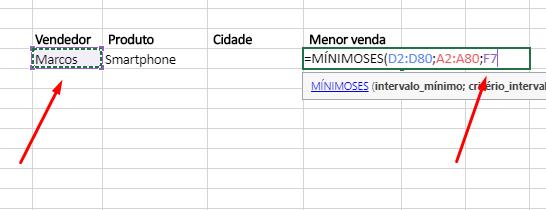 Quinto agumento de Funções MÁXIMOSES e MÍNIMOSES no Excel mínimo