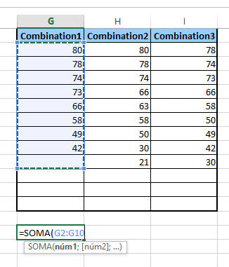 Tirando prova de combinação de soma no Excel