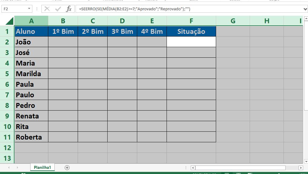 Toda planilha selecionada para Esconder a fórmula no Excel