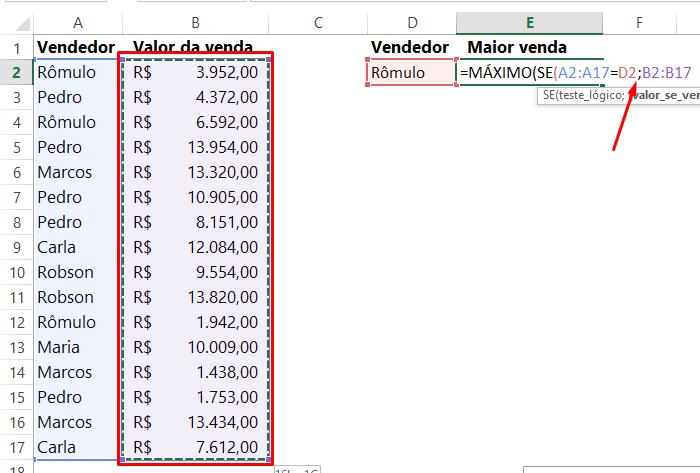 Valor_se_verdadeiro para funções MÁXIMO e SE no Excel