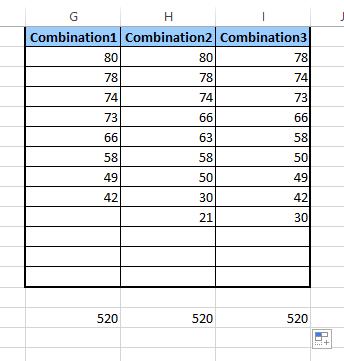 combinação de soma no Excel