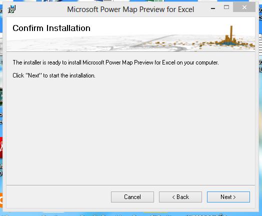 confirmando para instalar o gráfico de mapa no Excel