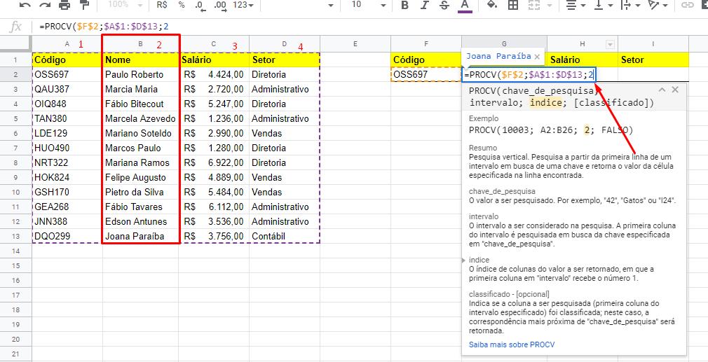 Índice da função PROCV no Google Planilhas
