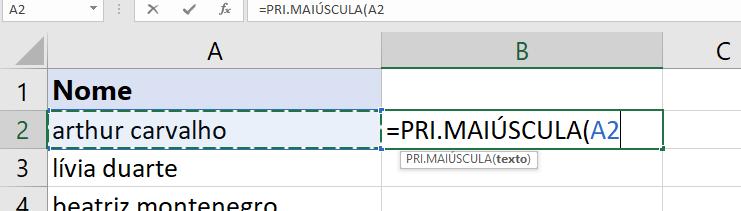 Abrindo a função PRI.MAIÚSCULA no Excel