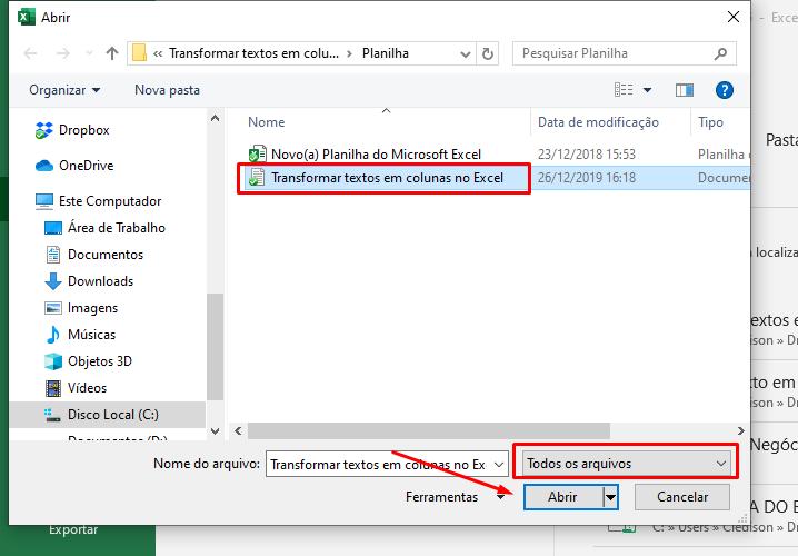 Abrindo arquivo para Transformar textos em colunas no Excel