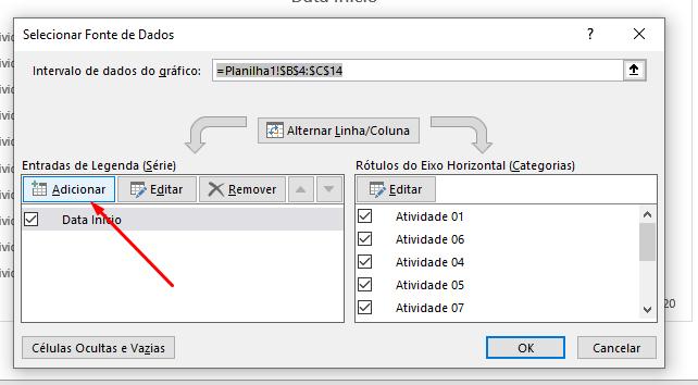 Botão Adicionar em Gráfico de Gantt no Excel