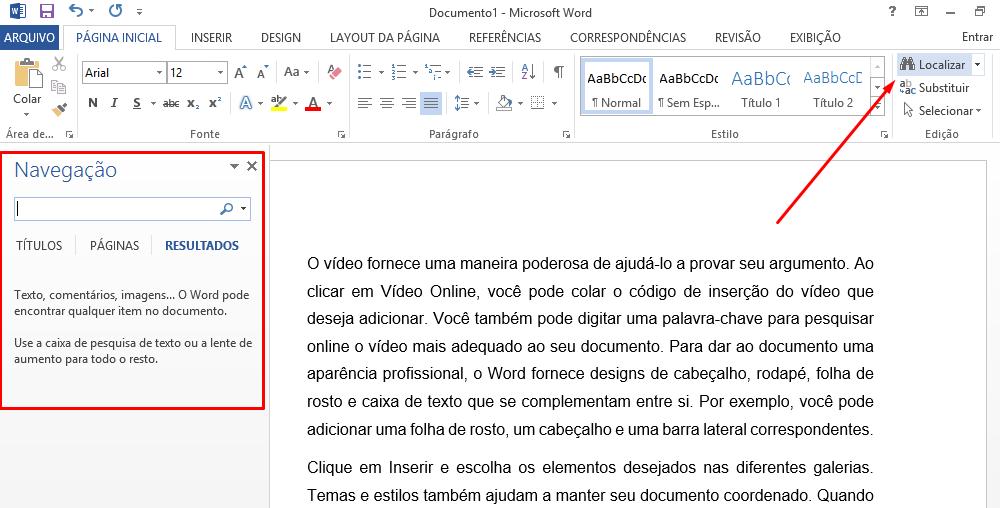 Caixa de navegação para localizar texto no Word