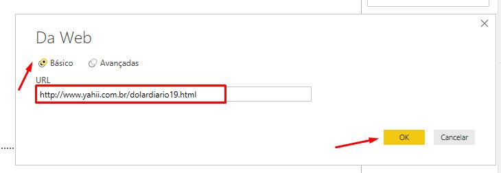 Colando URL do site para importar dados da Web com Power BI