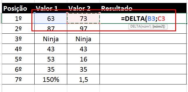Colocando argumentos na função Delta no Excel