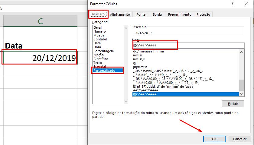 Configurando tipo data no Excel