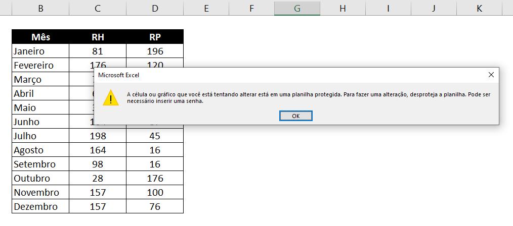 Erro para PROTEGER Células Específicas no Excel