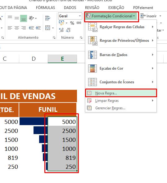 Formatação condicional da Segunda coluna em gráfico funil de vendas