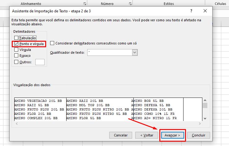 Marcando ponto e virgula para Transformar textos em colunas no Excel