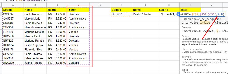 Mudando coluna para Setor da função PROCV no Google Planilhas