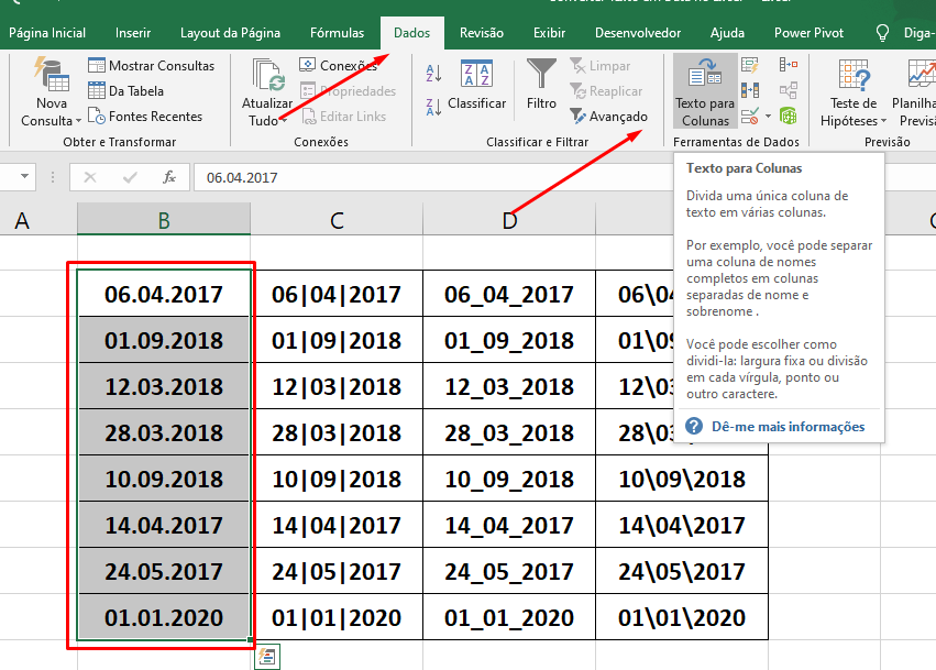 Primeira coluna para converter Texto em Data no Excel