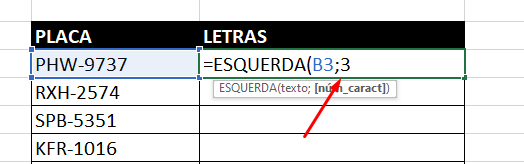 Quantidade de dados para Função Esquerda no Excel