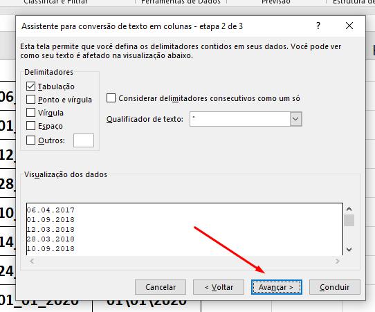 Segunda etapa para converter Texto em Data no Excel