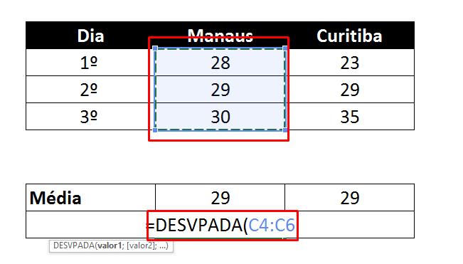 Selecionando valores de desvio padrão no Excel Manaus
