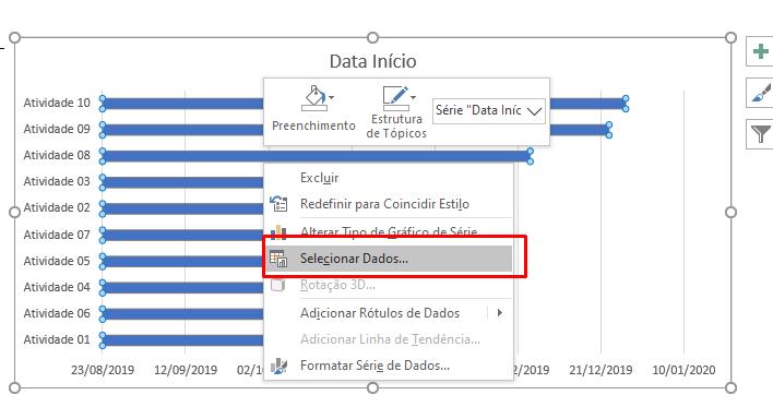 Selecionar Dados... para Gráfico de Gantt no Excel