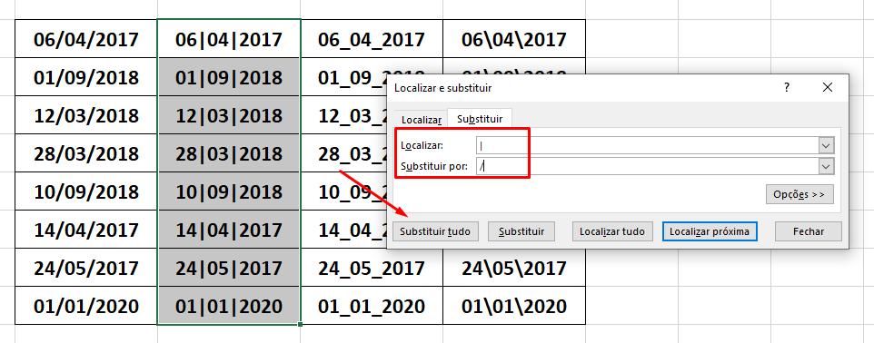 Substituindo caractere para converter Texto em Data no Excel