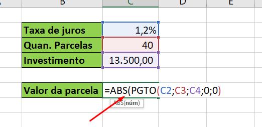 Usando a Função ABS no Excel