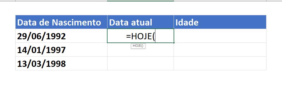 Abrindo a funcao calcular idade no Excel