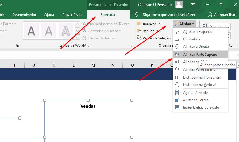 alinhar gráfico no Excel na Esquerda