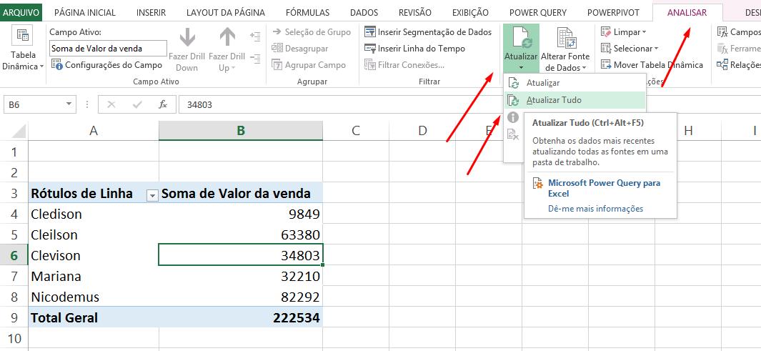 Atualizando tabela dinâmica no Excel