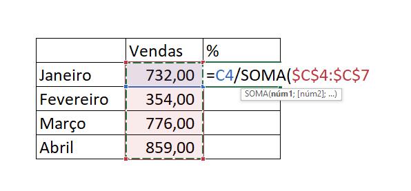 Calculando porcentagem no gráfico de colunas