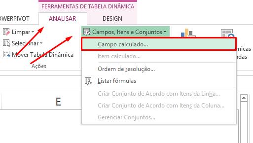 Campo calculado para inserir fórmula na tabela dinâmica do Excel