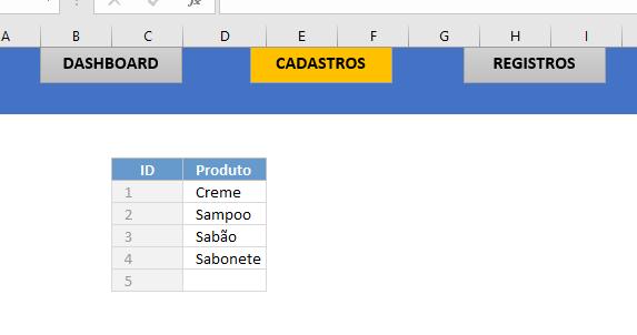 Dando destaque a forma Cadastro para Menu no Excel