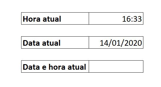 Data de data e hora atual no Excel