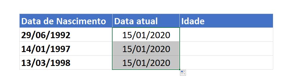Datas atuais de calcular idade no Excel