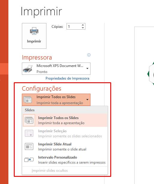 Escolhendo as condigurações para Impressão no PowerPoint