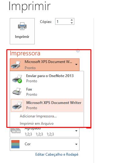 Escolhendo impressora para Impressão no PowerPoint