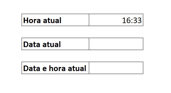 Hora de data e hora atual no Excel