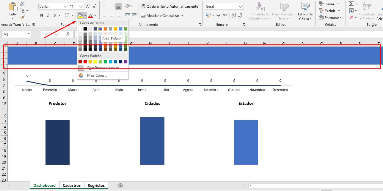 Inserindo cor para Menu no Excel