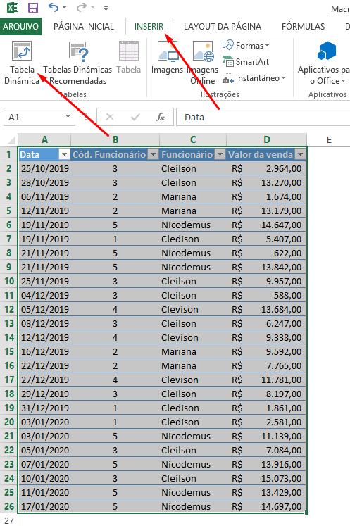 Inserindo tabela dinâmica no Excel