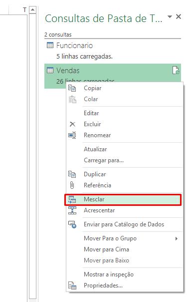 Mesclando para juntar duas tabelas dinâmicas no Excel
