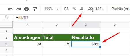 Modificando casas decimais para Porcentagem no Google Planilhas