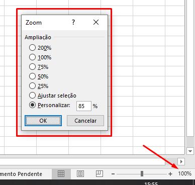 Opções de zoom da planilha do Excel