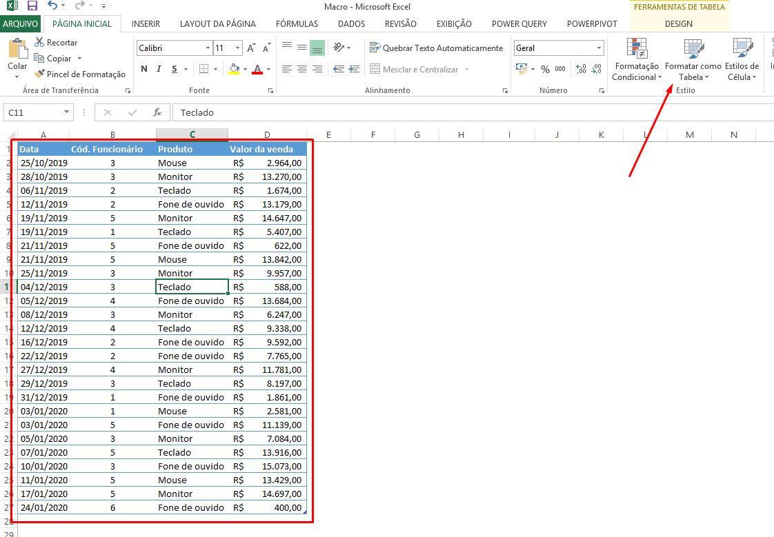 Primeira tabela formatada para juntar duas tabelas dinâmicas no Excel