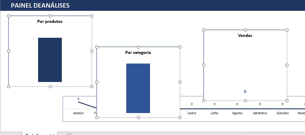 Selecionados gráficos para alinhar gráfico no Excel