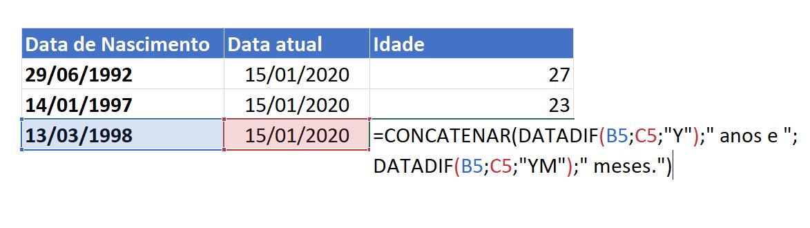 Sintaxe de DATADIF YM para calcular idade no Excel