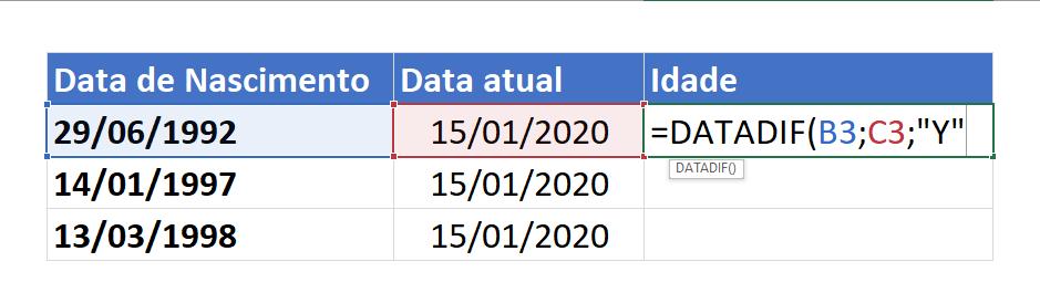 Sintaxe de DATADIF para calcular idade no Excel